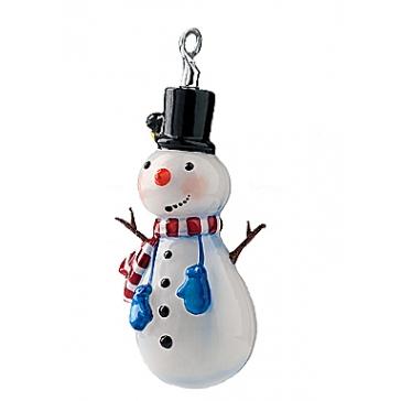 Елочная игрушка из стекла «Снеговик-голубые рукавички»