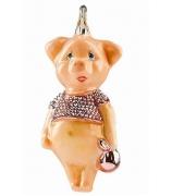 Елочная игрушка «Свинка модница»