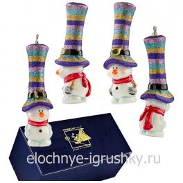 Елочная игрушка «Снеговик-цветной цилиндр» стеклянная, Польша
