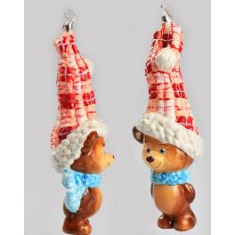Стеклянная игрушка на ёлку «Мишка – вязаный колпак», коллекция Komozja и Mostowski