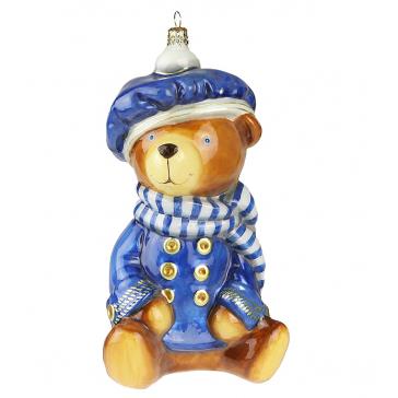Польская елочная игрушка из стекла «Стильный мишка»