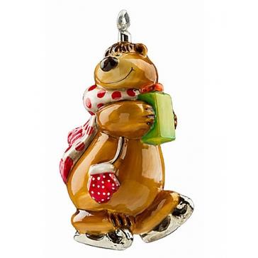 Елочная игрушка «Мишка-фигурист», ручная работа, 14х8 см