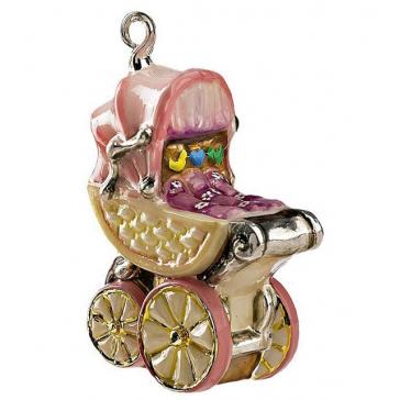 Елочная игрушка из стекла «Коляска розовая», ручная работа