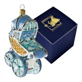 Елочная игрушка из стекла «Коляска голубая», ручная работа