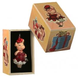 Елочная игрушка в виде хрюшки «Гранатовые бусы», Польша