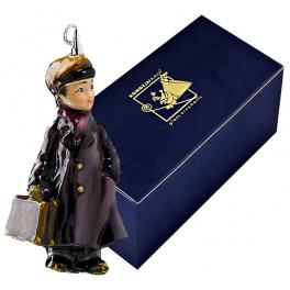 Стеклянная ёлочная игрушка «Мальчик с портфелем»