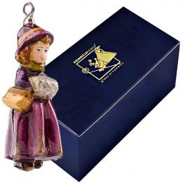 Стеклянная ёлочная игрушка «Девочка с муфтой»