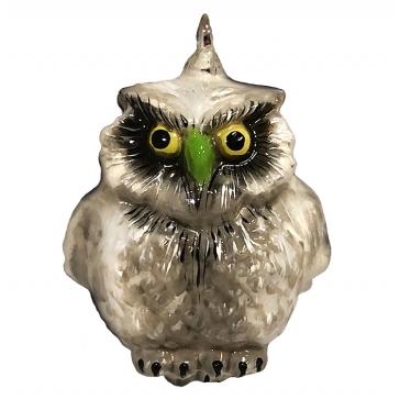 Стеклянная елочная игрушка «Серая сова», 9х6 см