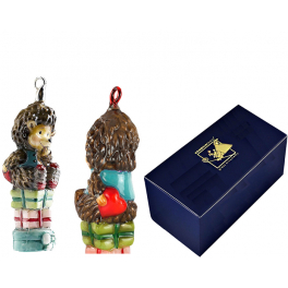 Елочная игрушка с художественной росписью «Ежик на подарках»