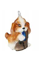 Елочная игрушка «Пёсик с ботинком»