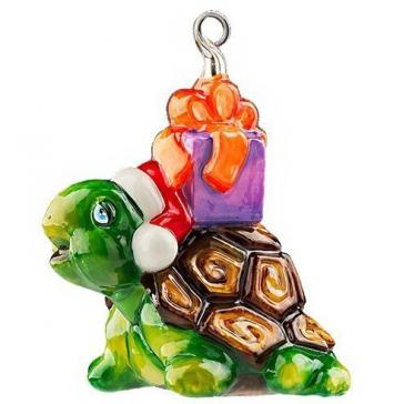 Стеклянная ёлочная игрушка «Доставка подарков»