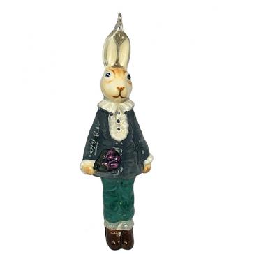 Елочная игрушка с художественной росписью «Кролик с цветами»