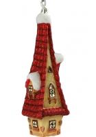 Елочная игрушка «Домик с красной крышей»