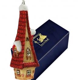 Елочная игрушка из стекла «Домик с красной крышей», производство Komozja Family