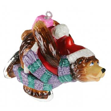Елочная игрушка из стекла «Мишка на коньках», новогодние украшения