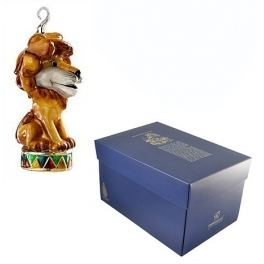 Елочная игрушка из стекла «Лев на арене», ручная работа