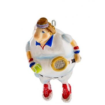 Елочная игрушка из стекла «Теннисист», производство Польша