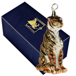 Елочная игрушка со стразами Swarovski «Тигр»