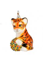Елочная игрушка «Тигрёнок с мячиком»