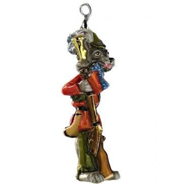Елочная игрушка «Серый волк», из стекла ручной работы