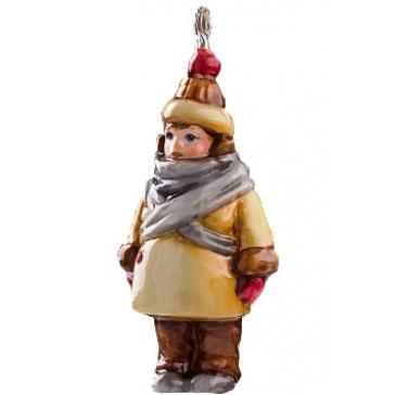 Стеклянная елочная игрушка «Девочка в пуховом платке», Польша