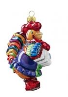 Елочная игрушка «Петух с гармошкой»