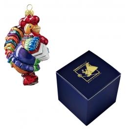 Елочная игрушка польского производства «Петух с гармошкой»