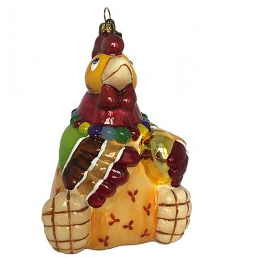 Стеклянная елочная игрушка «Курица с яйцом», Польша