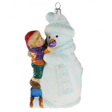 Стеклянная елочная игрушка «Мальчик со снеговиком», Komozja Family, Польша