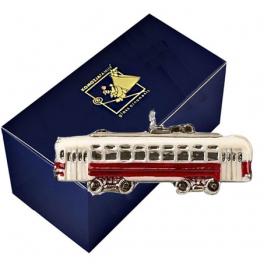 Стеклянная ёлочная игрушка «Трамвай»