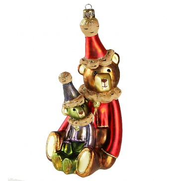 Елочная игрушка ручной работы «Два медвежонка», метариал: стекло