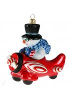 Елочная игрушка «Снеговик в самолёте»