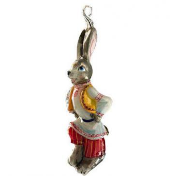 Елочная игрушка из стекла «Заяц плясун», высота 14 см