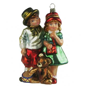 Елочная игрушка «Дети с подарками», Komozja Family, викторианская коллекция