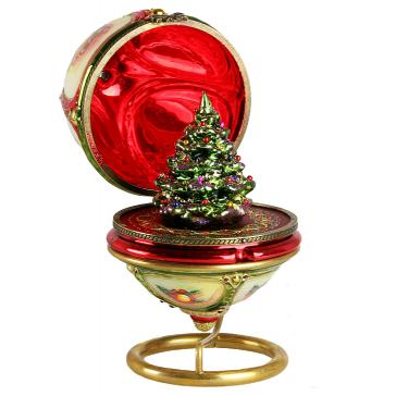 Стеклянная елочная игрушка-яйцо «Рождественская ёлка», новогоднее украшение в виде шкатулки с сюрпризом