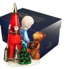 Елочная игрушка «Космонавт и мишка», елочное украшение из стекла, ручная работа