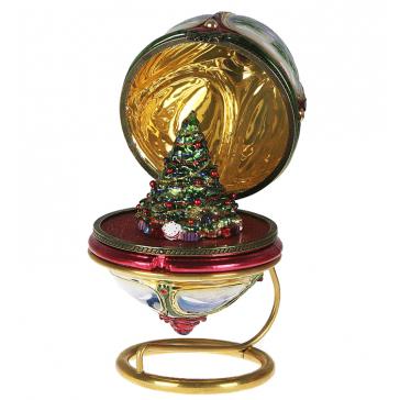Стеклянная елочная игрушка-яйцо «Зимний лес», новогоднее украшение в виде шкатулки с сюрпризом