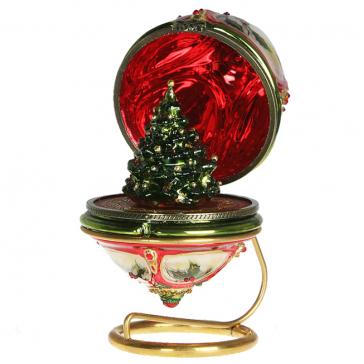 Елочная игрушка-яйцо «Елочка», новогоднее украшение в виде шкатулки с сюрпризом