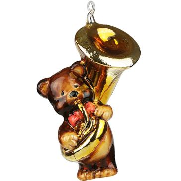 Стеклянная ёлочная игрушка «Мишка трубадуй», Польша.