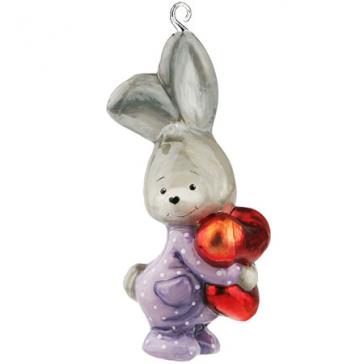 Стеклянная ёлочная игрушка ручной работы «Зайка в пижаме», Польша