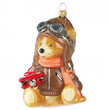 Коллекционная елочная игрушка «Мишка-авиатор», Komozja Family, Польша