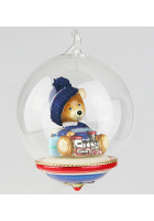 Елочная игрушка-глоба «Мишка с паровозиком»