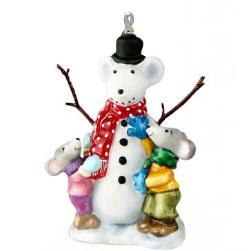 Елочная игрушка из стекла «Снежная мышь»