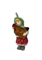 Елочная игрушка «Девочка с курочкой»