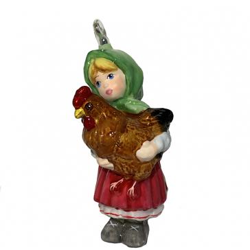 Стеклянная елочная игрушка Komozja Family «Девочка с курочкой»