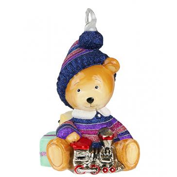 Ёлочная игрушка ручной работы «Мишка с паровозиком» с фирменной упаковкой