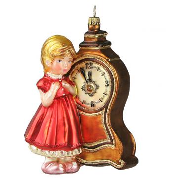 Елочная игрушка из стекла «Девочка с часами», производство Польша
