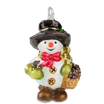 Стеклянная игрушка на елку «Снеговик с корзинкой грибов», высота 10 см