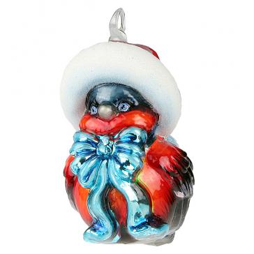 Польская елочная игрушка из стекла «Снегирь в шапке Санты»