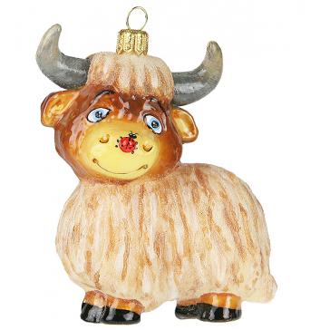 Стеклянная елочная игрушка «Бычок Яся», Komozja Family, символ 2021 года